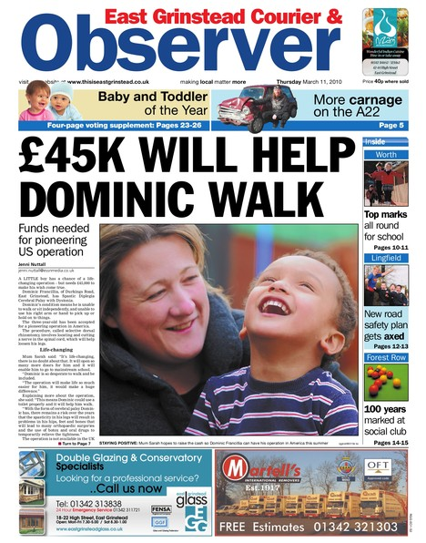 Front Page of the East Grinstead Observer